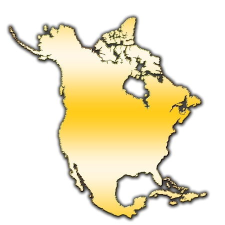 Outline map of North America covered with gradient photo