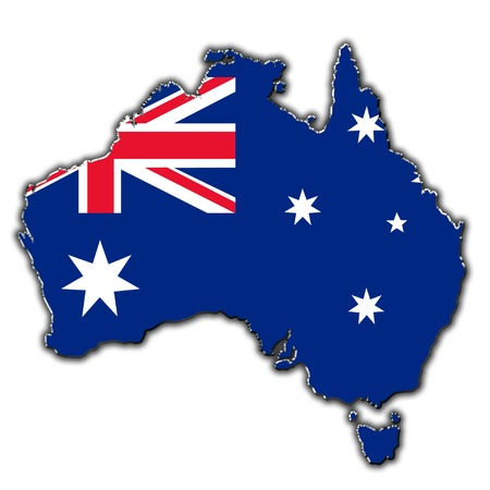 Outline map of Australia covered in Australian flag photo