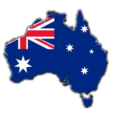 australia flag: Outline map of Australia covered in Australian flag Stock Photo