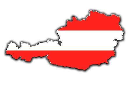 Schematische kaart van Oostenrijk bedekt met Oostenrijkse vlag