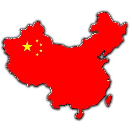 chinese map: Outline map of China covered in Chinese flag Stock Photo