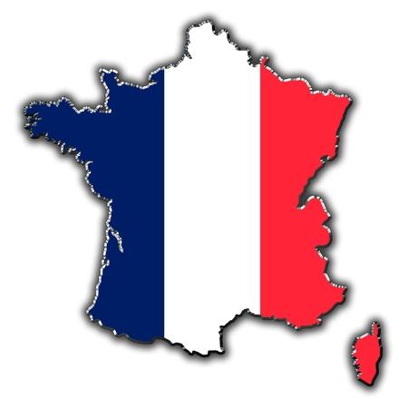 bandera francia: Esquema mapa de Francia cubierto de bandera francesa Foto de archivo