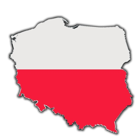 poland: Outline map of Poland covered in Polish flag