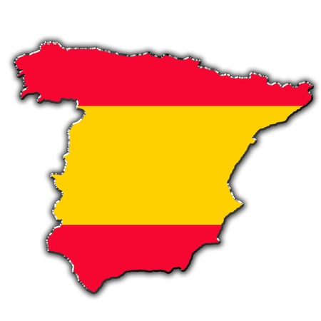 frontier: Outline map of Spain covered in Spanish flag