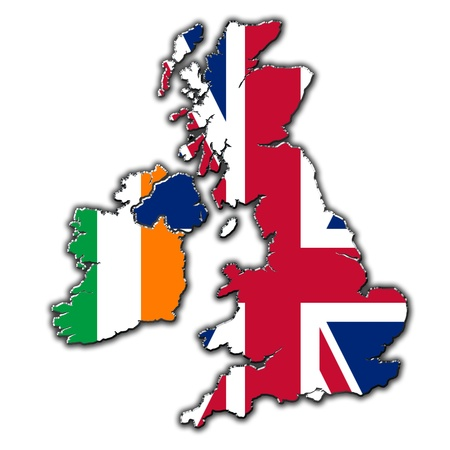 Stylized outline map of United Kingdom and Ireland covered in flags photo
