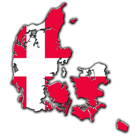 danish flag: Outline map of Denmark covered in Danish flag