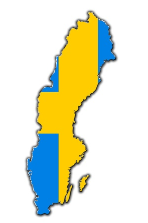 Outline map of Sweden covered in Swedish flag photo