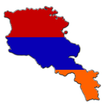 armenian: Outline map of Armenia covered in Armenian flag Stock Photo