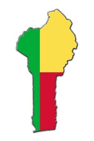 Outline map of Benin covered in flag of Benin photo
