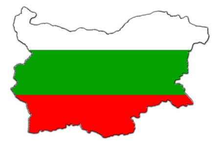 homeland: Outline map of Bulgaria covered in Bulgarian flag Stock Photo