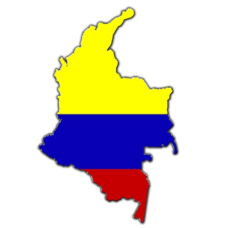 colombian: Outline map of Colombia covered in Colombian flag