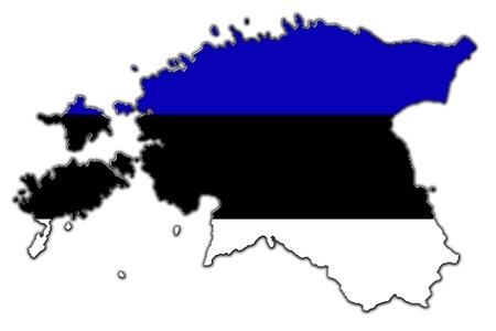 homeland: Outline map of estonia covered in flag of Estonia