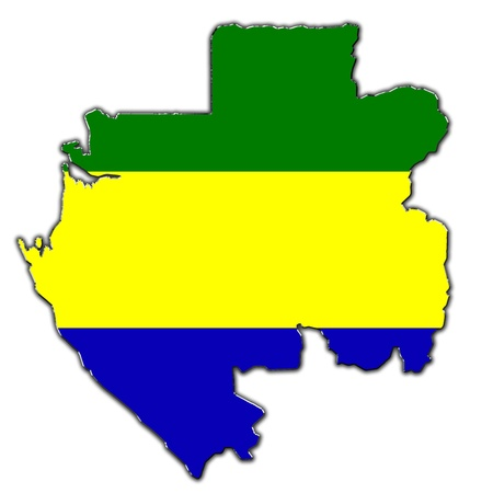 gabon: Outline map of Gabon covered in flag of Gabon