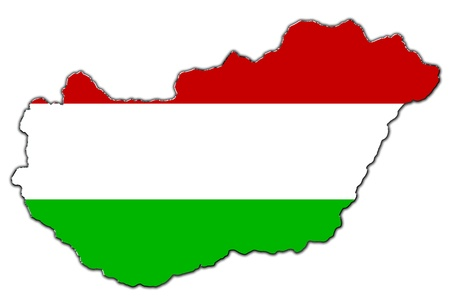 Outline map of Hungary covered in Hungarian flag 版權商用圖片