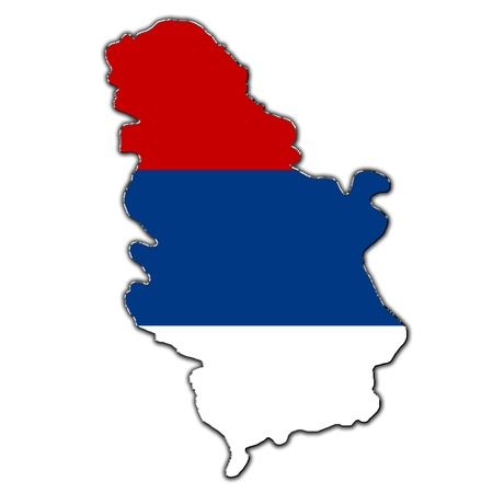 Outline map of Serbia covered in flag of Serbia photo
