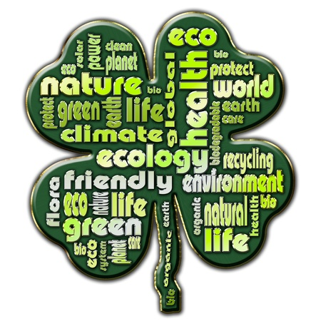 Words that describe the ecological issues presented in the shape of a four leaf clover photo