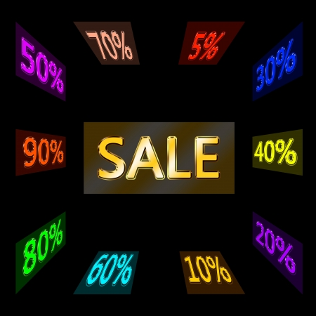 Word sale, written with golden letters and around the cloud of various reductions Stock Photo - 16298323