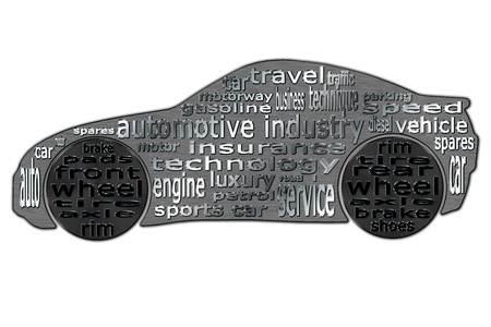 The automotive industry is shown in the form of clouds of words typed in the contour of a sports car photo
