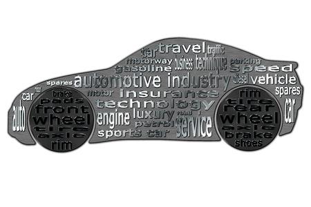 Die Automobilindustrie ist in Form von Wolken von Wörtern in der Kontur eines Sportwagen typisiert gezeigten