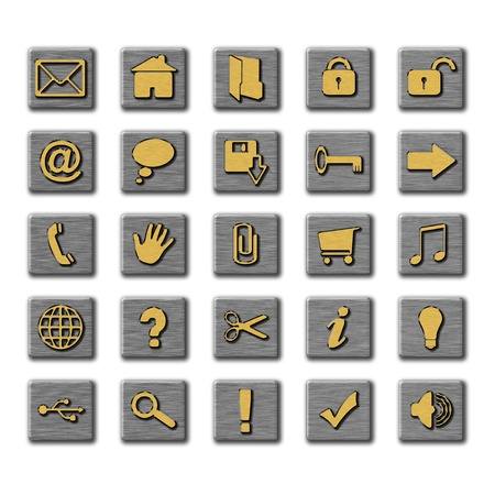 Set of twenty-five various icons shown in the form of buttons Stock Photo - 16630645