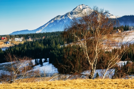 zakopane: Scenic areas around Zakopane and visible Hawran peak in the distance