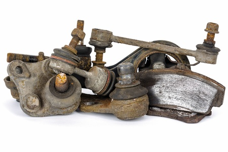scrapped: Useless, worn out and rusty suspension car parts