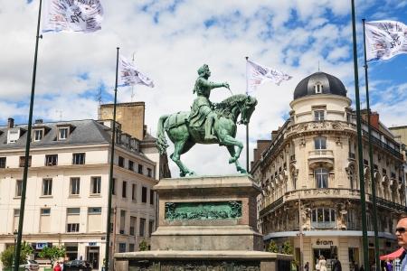 nicknamed: ORLEANS, JUNE 08: Statue Jeanne dArc a heroine of France and Roman Catholic saint nicknamed The Maid of Orleans in Orleans in France on June 08, 2012
