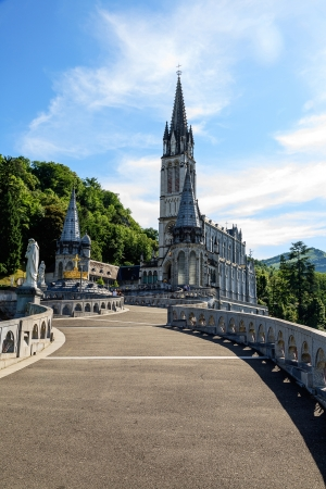 LOURDES - JUNE 05: Basilica of the Rosary a major place of Roman Catholic pilgrimage and of miraculous healing visited by 6 million pilgrims every year in Lourdes in France on June 05, 2012 Editorial