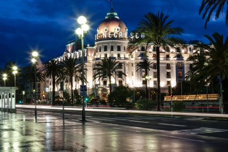 NICE - MAY 21: Famous and luxury Hotel Negresco located at the famous Promenade des Anglais at night in Nice in France on May 21, 2012.