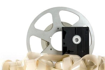 Old video cassette and old movie tapes Stock Photo