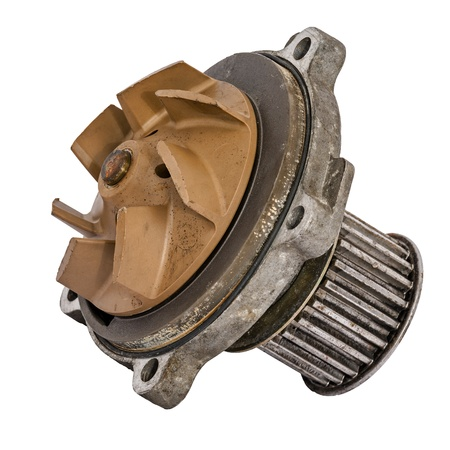 dismounted: Worn out water pump dismounted from the vehicle engine cooling system Stock Photo