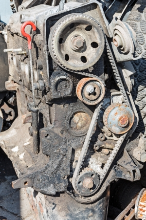 inoperative: Worn out engine of gasoline with the removed timing gear cover