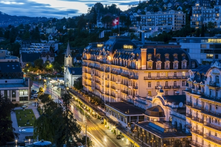 MONTREUX - MAY 19: Fairmont Le Montreux Palace Hotel a five star luxury hotel built in 1906 containing 235 rooms and suites at the Swiss Riviera in Montreux in Switzerland on May 19, 2013