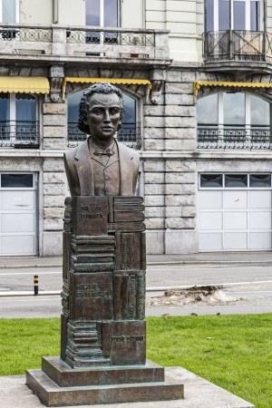 vevey: VEVEY - MAY 23: Monument in bronze to the Romanian poet  Mihai Eminescu (1850-1889), set on the walk of fame in 2000 with the support of the Romanian embassy in Vevey in Switzerland on May 23, 2013