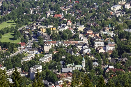 zakopane: The center of Zakopane seen from above Stock Photo