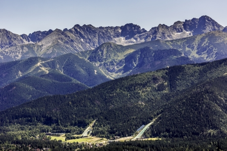zakopane: The ski jumps built on a hillside called Krokiew emphasize the beauty of the Polish Tatras Stock Photo
