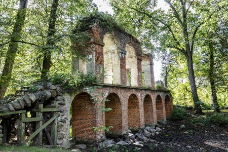 ARKADIA - AUGUST 24  Aqueduct restored in the years 1950 52 in Romantic Park created in the years 1778-1820 by Duchess Helena Radziwill from Przezdziecki family in Arkadia, Poland on August 24, 2013