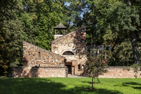arkadia: ARKADIA - AUGUST 24  The High Priest  Sanctuary, unique garden pavillon build in XVIII century, made of brick, iron stone and the fragments of antique sculptures in Arkadia, Poland on August 24, 2013