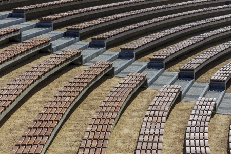 grandstand: Rows of seats in the open air, makes interesting background