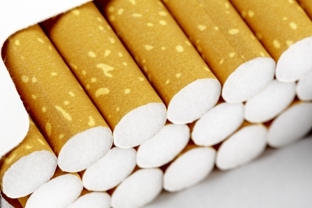 Pack of cigarettes in the box shown up close Stock Photo