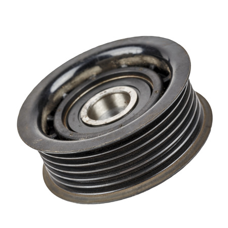 worthless: Worn out pulley belt of drive engine devices Stock Photo