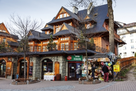 ZAKOPANE - NOVEMBER 16: Siklawa Inn in Regional Building offers 160 seats on the ground floor belonging to the neighboring Hotel Sabala at Street Krupowki in Zakopane, Poland on November 16, 2013