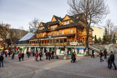 ZAKOPANE - NOVEMBER 16: Sabala Hotel built as Staszeczkowka in 1894 contains 50 rooms, entered in the register of architecture monuments, renovated in 1996 in Zakopane, Poland on November 16, 2013