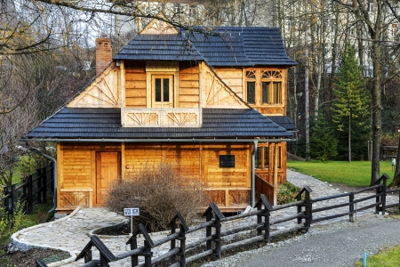 lived here: ZAKOPANE - NOVEMBER 16: Atma House, built in the late 19th century by Jozef Kasprus Stoch, the composer Karol Szymanowski lived here from 1930 to 1936, in Zakopane in Poland on November 16, 2013