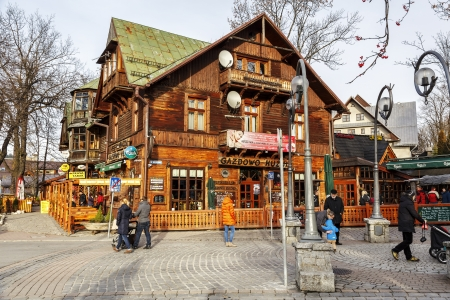ZAKOPANE - NOVEMBER 16  Gazdowo Kuznia Restaurant in the building of former Pod Giewontem Hotel launched by Romuald Kulig in 1885, until 1898 the biggest hotel in Zakopane, Poland on November 16, 2013
