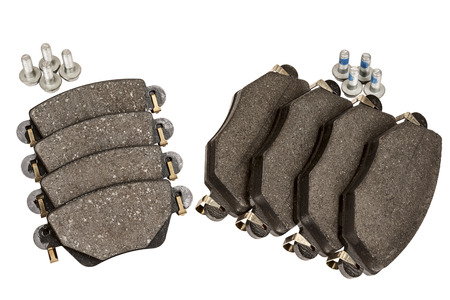 New brake pad set designed to install on the front and rear axle