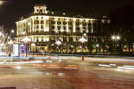 krakowskie przedmiescie: WARSAW - DECEMBER 19  Bristol a five star luxury hotel contains 168 rooms and 38 apartments at the famous Krakowskie Przedmiescie street in Warsaw in Poland on December 19, 2013