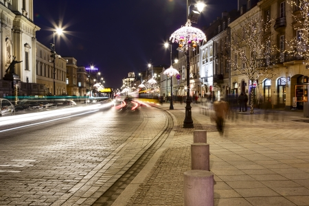 krakowskie przedmiescie: WARSAW - DECEMBER 19  Krakowskie Przedmiescie Street together with the historic center and Wilanow declared a historical monument in the year 1994 in Warsaw in Poland on December 19, 2013