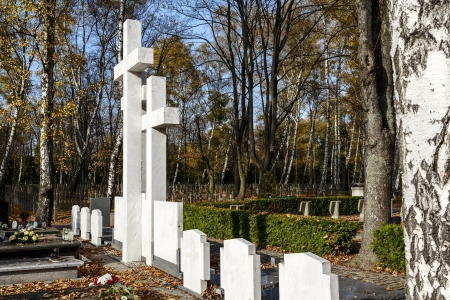 exile: WARSAW - OCTOBER 25  The symbolic grave Sibir Exile made of white stone, unveiled and dedicated on September 24, 2010 at Powazki Military Cemetery in Warsaw in Poland on October 25, 2013 Editorial