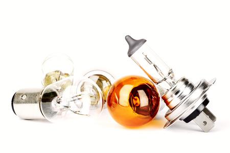 Set of spare car bulbs including H7 and orange bulb